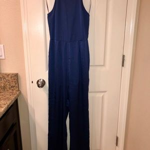 aa9a37f0439 Cotton Candy Pants - Satin Blue Jumpsuit- Small